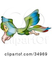 Clipart Illustration Of A Flying Green Blue And Red Bird With Yellow Eyes Glancing While Passing