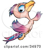 Clipart Illustration Of A Pretty Blue Eyed Pink Purple And Blue Bird Flying