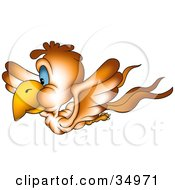 Clipart Illustration Of A Flying Brown Bird With Blue Eyes In Profile