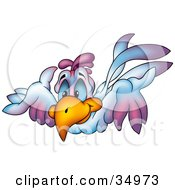 Clipart Illustration Of A Flying Blue And Purple Bird With Blue Eyes