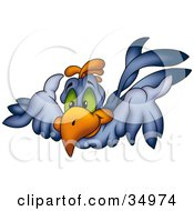 Clipart Illustration Of A Flying Blue Bird With Green Eyes