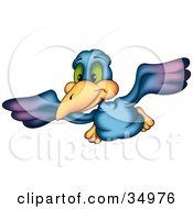 Clipart Illustration Of A Flying Purple And Blue Bird With Green Eyes
