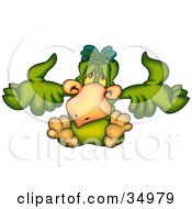 Clipart Illustration Of A Confused Green Bird Shrugging by dero
