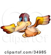 Clipart Illustration Of A Flying Orange And Red Bird With Blue Eyes