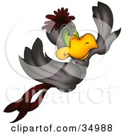 Clipart Illustration Of A Flying Gray And Maroon Bird With Green Eyes