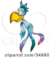 Clipart Illustration Of A Flying Blue Bird With Green Eyes And Long Feathers