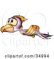 Clipart Illustration Of A Purple And Orange Bird With Yellow Eyes Looking Up And Flying