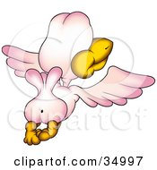 Clipart Illustration Of A Pink Bird Flying Away