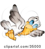 Clipart Illustration Of A White And Gray Bird With Blue Eyes Tilting His Head While Flying