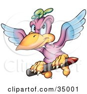 Clipart Illustration Of A Purple And Blue Parrot Flying With A Red Crayon In His Claws by dero