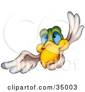 Clipart Illustration Of A Blue Eyed Bird With A Green Head Flying Forward
