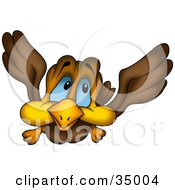 Clipart Illustration Of A Flying Brown Bird With Blue Eyes And Big Cheeks