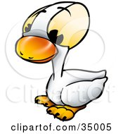 Clipart Illustration Of A Cute White Duckling With Big Yellow Eyes by dero