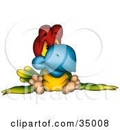 Clipart Illustration Of A Sad Red Green And Yellow Parrot With A Blue Beak