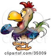 Clipart Illustration Of A Colorful Male Rooster In Profile Facing Left And Strutting His Stuff by dero