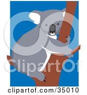 Cute Koala Hugging A Tree Over A Blue And White Background