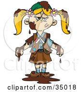 Clipart Illustration Of A Grumpy Blond Girl Scout Covered In Chocolate A Chocolate Brownie by Dennis Holmes Designs