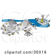 Clipart Illustration Of A Caucasian Fisherman In A Boat Fishing For Bream by Dennis Holmes Designs
