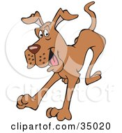 Clipart Illustration Of A Clumsy And Hyper Great Dane Dog Jumping Forward by Dennis Holmes Designs