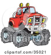 Big Red Pickup Truck With A Lift And Huge Tires Ready For Off Roading