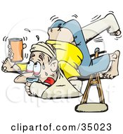 Clipart Illustration Of An Accident Prone Man Covered In Casts And Slings Holding Up His Beverage To Avoid Spilling After Tripping Over His Crutches by Dennis Holmes Designs