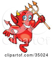 Clipart Illustration of a Troublesome Little Red Devil Dancing With A Pitchfork by Dennis Holmes Designs