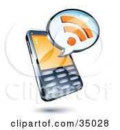 Rss Symbol On An Instant Messenger Window Over A Cell Phone