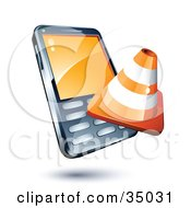 Clipart Illustration Of A Construction Cone On A Cellphone