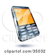 Clipart Illustration Of A Cell Phone With An Orange Screen by beboy