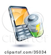 Clipart Illustration Of A Battery On A Cellphone