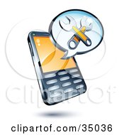 Clipart Illustration Of Wrenches On An Instant Messenger Window Over A Cell Phone
