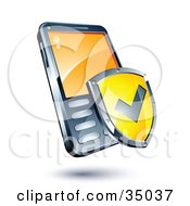 Clipart Illustration Of A Yellow Warranty Shield On A Cellphone by beboy