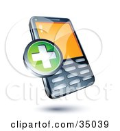 Clipart Illustration Of A Green Plus Sign On A Cellphone by beboy