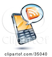 Clipart Illustration Of An RSS Cube On An Instant Messenger Window Over A Cell Phone by beboy