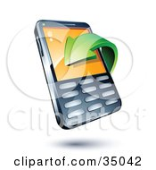 Clipart Illustration Of A Green Download Arrow Over A Cell Phone by beboy