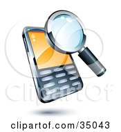 Clipart Illustration Of A Magnifying Glass On A Cellphone