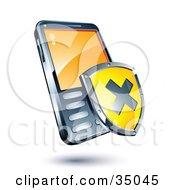 Clipart Illustration Of A Yellow X Shield On A Cellphone