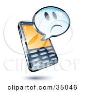 Clipart Illustration Of A Sad Face On An Instant Messenger Window Over A Cell Phone by beboy