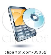 Clipart Illustration Of A Disc On A Cellphone by beboy