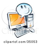 Clipart Illustration Of A Smiley Face On An Instant Messenger Window Over A Desktop Computer Screen by beboy