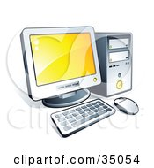 Clipart Illustration Of A New Desktop Computer With Yellow Desktop Wallpaper by beboy
