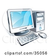 Clipart Illustration Of A New Desktop Computer With Blue Desktop Wallpaper