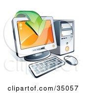 Clipart Illustration Of A Green Download Arrow Over A Desktop Computer Screen