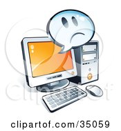 Clipart Illustration Of A Sad Face On An Instant Messenger Window Over A Desktop Computer Screen