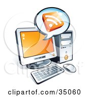 Clipart Illustration Of An RSS Cube On An Instant Messenger Window Over A Desktop Computer Screen by beboy