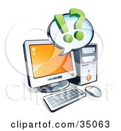 Clipart Illustration Of Punctuation On An Blank Instant Messenger Window Over A Desktop Computer Screen by beboy