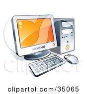 Clipart Illustration Of A New Desktop Computer With Orange Desktop Wallpaper