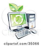 Green Leaves And Recycle Arrows On A Desktop Computer