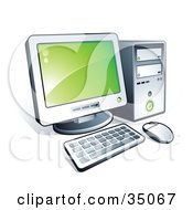 Clipart Illustration Of A New Desktop Computer With Green Desktop Wallpaper by beboy