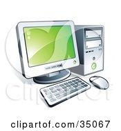 Clipart Illustration Of A New Desktop Computer With Green Desktop Wallpaper